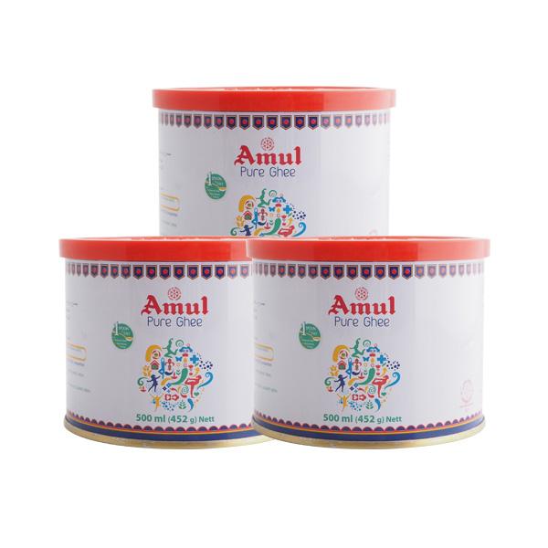 【送料無料】ギー ピュア アムール 452g(500ml) Pure Ghee Amul 3本セット 澄ましバター バターオイル バターコーヒー 調味料