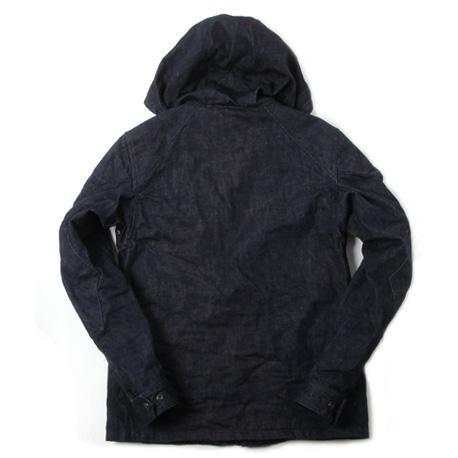 フード付きライディングジャケット デニム