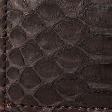 蛇革コインケース ブラウン