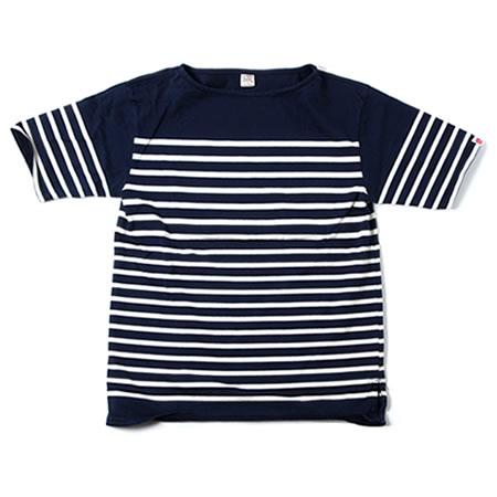 ボートネックボーダー半袖Tシャツ  ネイビー