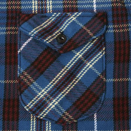 先染ヘビーネルシャツ ブルー
