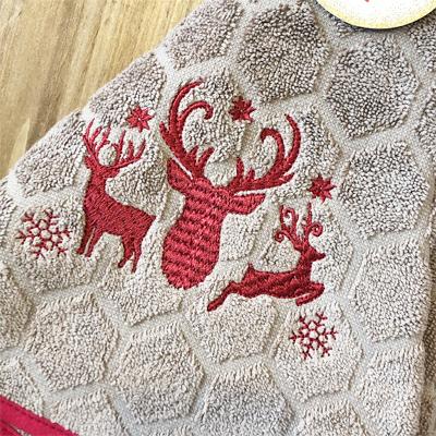 クリスマス・トナカイの円形タオル 70cmサイズ 【フランスキッチン雑貨】