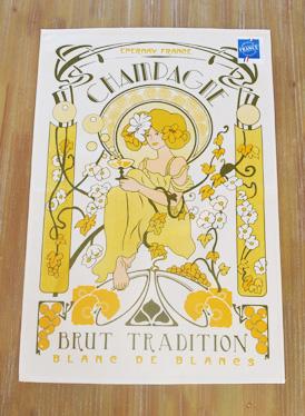 ティータオル│シャンパンを飲む美女│【フランス雑貨カフェグッズ/ポスター】アールヌーボー風