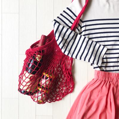 ショルダーネットバッグ Mサイズ レッド フィルト/FILT社 【フランス雑貨】エコバッグやキッチンの野菜収納バッグに