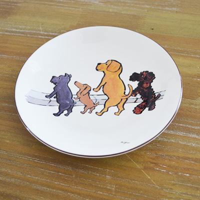 サヴィニャックグッズ・お皿(プレート)  おしゃれな犬のイラスト (清潔な街キャンペーン)