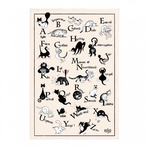 ティータオル│猫のアルファベットティータオル【フランス雑貨カフェグッズ】かわいいポスターに