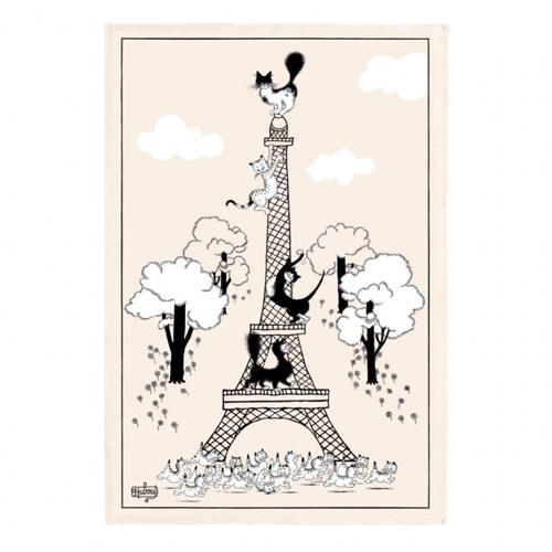 ティータオル│猫がエッフェル塔にのぼるティータオル│かわいいポスターに【フランス雑貨カフェグッズ/ポスター】