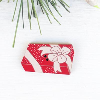 フランス製 木製ボタン・プレゼント・長方形【アトリエ ボヌール ドゥ ジュール】