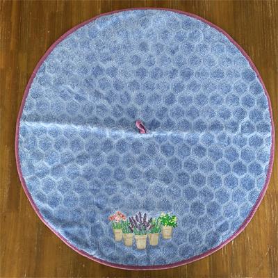 南仏プロバンス・花の円形タオル・ライトブルー /70cmサイズ 【フランスキッチン雑貨】