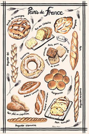 ティータオル│フランスのパンの種類【フランス雑貨カフェグッズ】<レターパックライト>