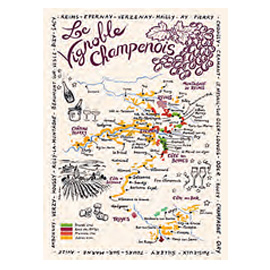 ティータオル│フランス・シャンパーニュの地図│【フランス雑貨ワイングッズ/ポスター】