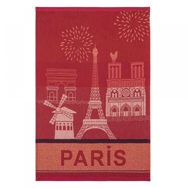 クーケ・パリの観光地ジャガード織ティータオル・ルージュ【COUCKE】レターパックライトOK