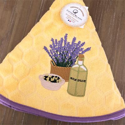 南仏プロバンス・オリーブとラベンダーの円形タオル・イエロー /70cmサイズ 【フランスキッチン雑貨】
