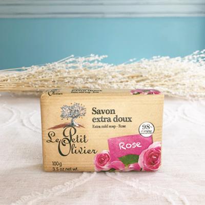 <フランス製の石鹸・ボディケアブランド>プチオリビエソープ・プロヴァンス フランス製固形石鹸・ローズの香り<プチギフトにおすすめ><バラの香り>