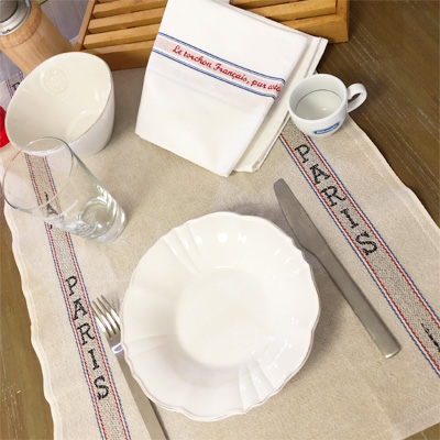 リネンとコットンのフランス製ティータオル・パリス Paris フランス老舗ブランド・ シャルベエディション 【フランス直輸入】キッチンクロス・テーブルクロスとしても使える【CHARVET EDITIONS】