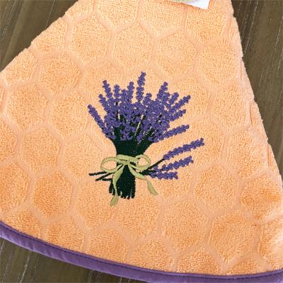 南仏プロバンス・ラベンダーのブーケ円形タオル・サーモンピンク /70cmサイズ 【フランスキッチン雑貨】