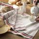 クーケ・フランス製ティータオル・MARCEL 【COUCKE】赤黒ライン・コットン100%・キッチンクロス・テーブルランナー