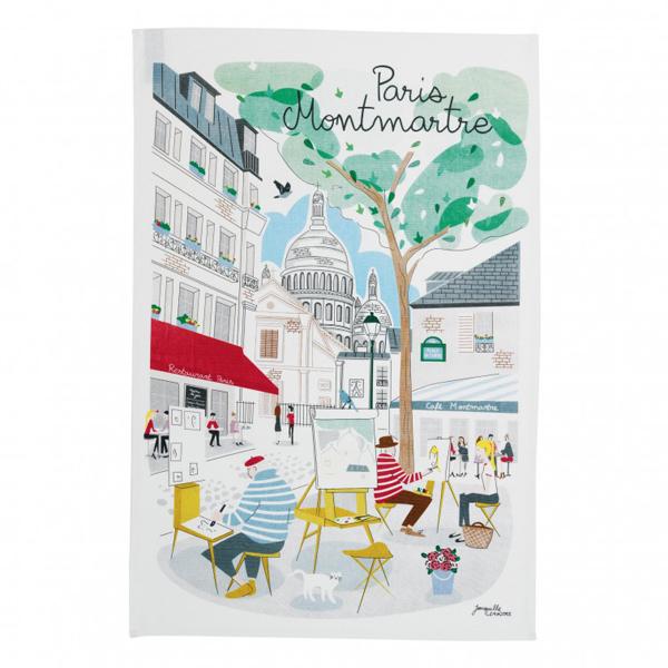 ティータオル│パリ・モンマルトルの丘 Paris Montmartre │【フランス雑貨カフェグッズ/ポスター】お皿の水切りに・手拭きに。おしゃれなリメイク用ハンドメイドの材料に