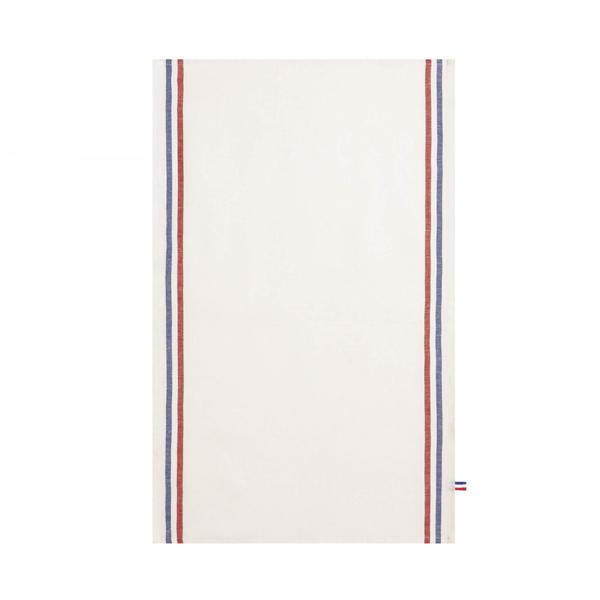 クーケ・フランス製 ティータオル・トリコロール・ホワイト【COUCKE】リネン95%コットン5%キッチンクロス・テーブルランナー レターパックライトOK