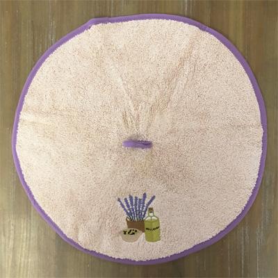 南仏プロヴァンス・オリーブ&ラベンダーの刺繍入り円形タオル ベージュ 50cmサイズ 【フランスキッチン雑貨】