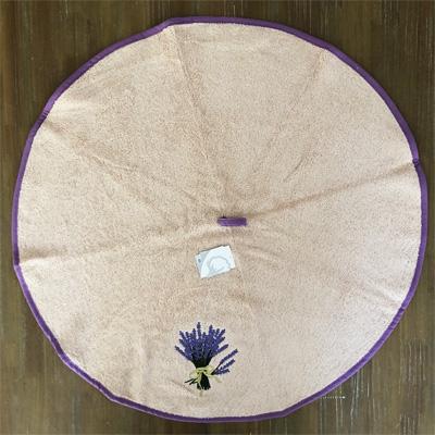 南仏プロヴァンス・ラベンダーの刺繍入り円形タオル ベージュ 70cmサイズ 【フランスキッチン雑貨】