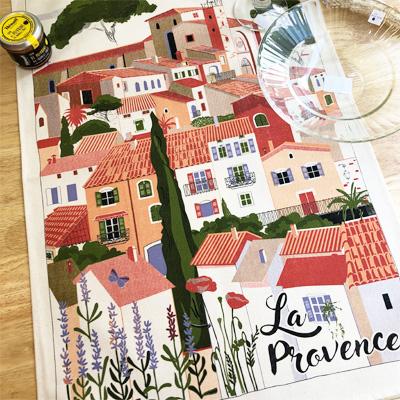 ティータオル│ヴィラージュ・プロヴァンス│フランス雑貨カフェグッズ・ファブリックポスター