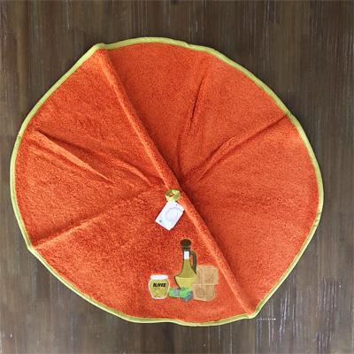 南仏プロヴァンス・オリーブの円形タオル オレンジ  70cmサイズ 【フランスキッチン雑貨】