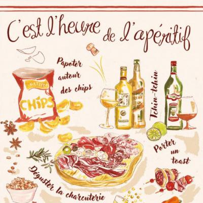 ティータオル│フランス・アペリティフ│フランス雑貨ワイングッズ/ファブリックポスター<レターパックライトOK>