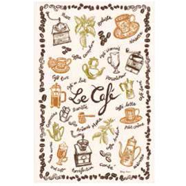 ティータオル│コーヒー豆がモチーフ|ルカフェ【フランス雑貨カフェグッズ】カフェ・レストランのインテリアにぴったり!!