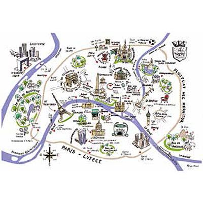 ティータオル│フランス・パリの地図・Lutece│フランス雑貨・ファブリックポスター<レターパックライトOK>