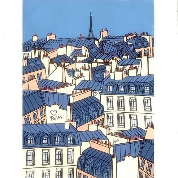 ティータオル/パリの屋根【バーディ】日本初上陸のフランスブランド・BIRDIE<かわいいフランス輸入雑貨>
