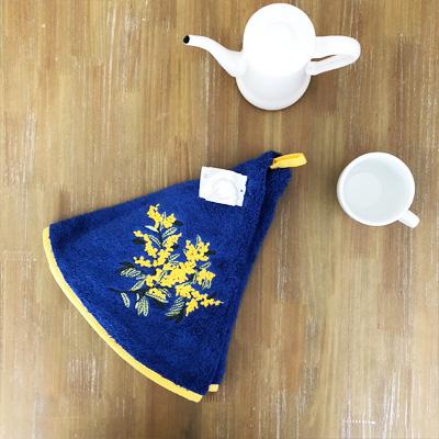 南仏プロヴァンス・ミモザの円形タオル ブルー  70cmサイズ 【フランスキッチン雑貨】