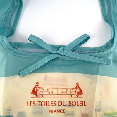 エコバッグ2WAY(カプリ ブラン ターコイズ/CAPRI Blanc Turquoise) 【レ・トワール・デュ・ソレイユ/LES TOILES DU SOLEIL】<折りたたみ><おしゃれなフランスブランド><レターパックライト可>