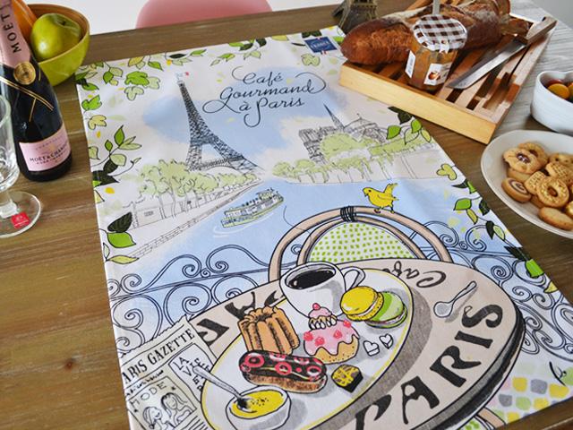 ティータオル│エッフェル塔とパリのカフェをセーヌ川から【フランス雑貨カフェグッズ】お皿の水切り・ポスター・テーブルクロスに