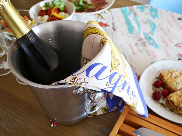 ティータオル│シャンパン│フランス輸入雑貨・ワイングッズ・ファブリックポスター<レターパックライトOK>