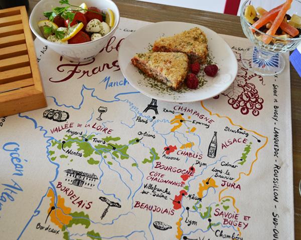 フランスワインの地図|ティータオル【フランスワインの産地マップ】ポスター・水切りに
