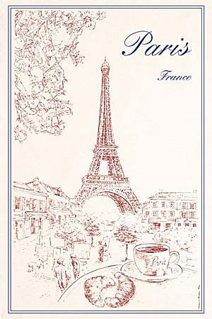 ティータオル│フランス・クラシカルなパリ・エッフェル塔とカフェ│【フランス雑貨/ポスター】<レターパックライトOK>
