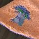 南仏プロヴァンス・ラベンダーの刺繍入り円形タオル サーモンピンク 70cmサイズ 【フランスキッチン雑貨】