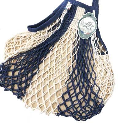 ネットバッグ Mサイズ ブルーストライプ フィルト/FILT社 【フランス雑貨】エコバッグに。野菜の保存袋に。