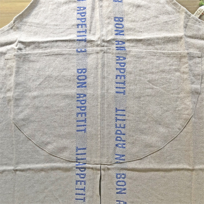 リネンエプロン・フランス老舗ブランド・シャルベエディション・ボナペティブルー 【CHARVET EDITIONS】おしゃれでかわいいフランス直輸入リネンエプロン