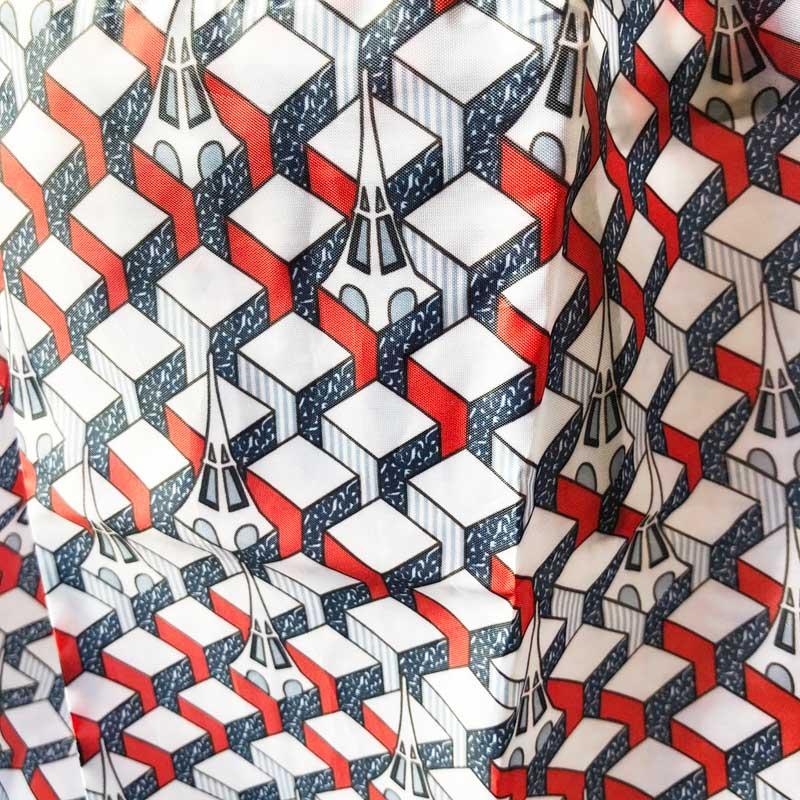 モノプリエコバッグ2020・モノグラムエッフェル塔・赤<レターパックライトOK>フランス雑貨