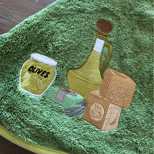 南仏プロヴァンス・オリーブの円形タオル グリーン 70cmサイズ 【フランスキッチン雑貨】