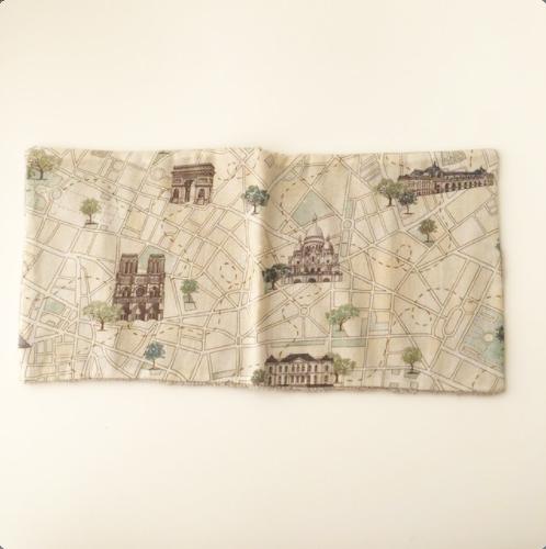 タオルハンカチ2021_E 凱旋門・パリの地図 フランス・ヨーロッパ生地使用 レターパックライトOK