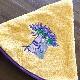 南仏プロヴァンス・ラベンダーの刺繍入り円形タオル イエロー 70cmサイズ 【フランスキッチン雑貨】