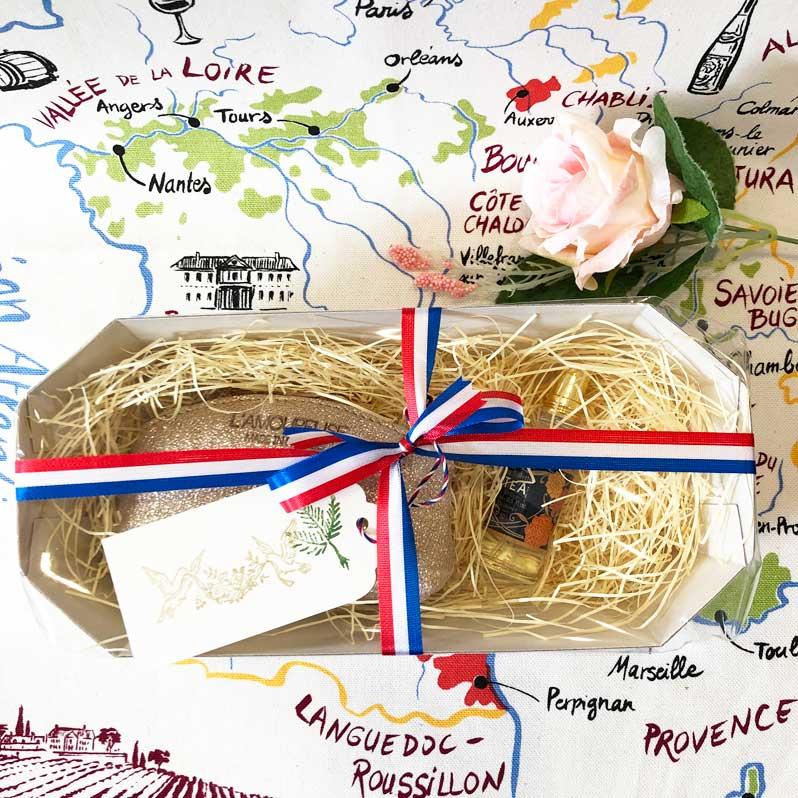 フランスブランドのコインケース・ゴールドグリッターとミニトワレ・紅茶の香りのギフトセット・箱ラッピング済・手提げ袋付き<アロマリン><ラモフォーズ><フランス輸入雑貨ギフトセット>