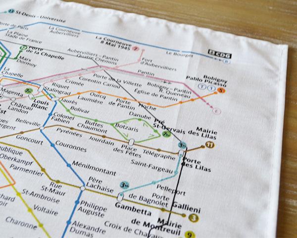 パリのメトロ路線図ティータオル【フランス雑貨】ポスター・水切りに
