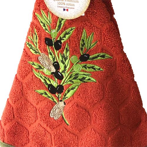 南仏プロヴァンス円形タオル・オリーブとせみ・ブラッドオレンジ<南フランス雑貨>70�