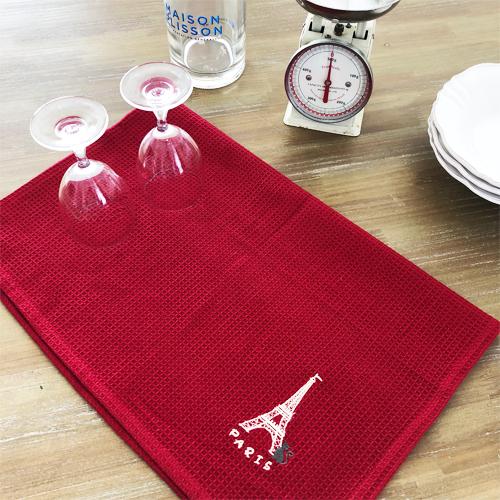 エッフェル塔と猫のキッチンクロス2枚セット 【フランスキッチン雑貨】