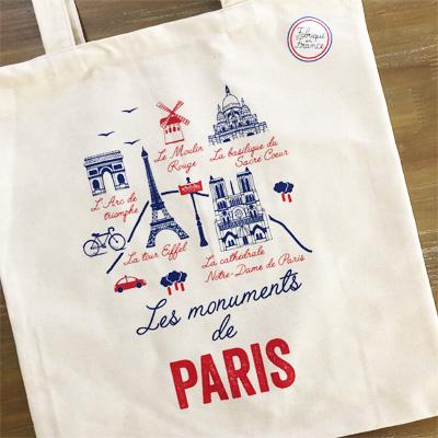 フランス製トートバッグ/エコバッグ|モニュメント・ドゥ・パリ 【TISSAGE DE L'OUEST ティサージュ・ドゥ・ルウェスト】<A4が入る軽いバッグ><プチプラフランス土産>
