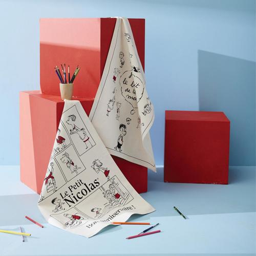 プチ二コラ・ティータオル(お誕生日おめでとう) フランス輸入雑貨 テーブルクロス・ポスター・ランチョンマットに プチ二コラグッズ